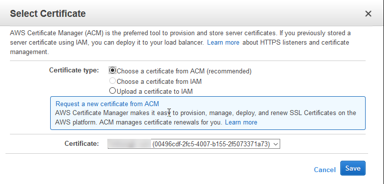Choose the ACM certificate in Load Balancer configuration