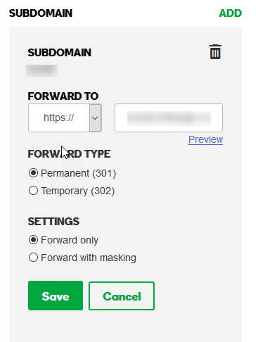 Registering the newly created subdomain with the parent service providers